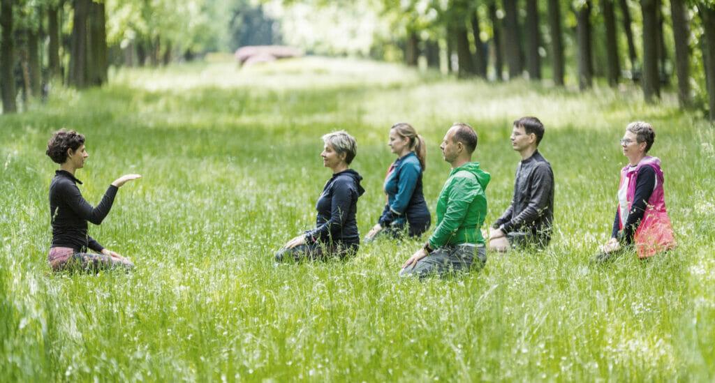 GRUPA trenerów TAO medytujących w plenerze